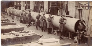 "The Liversedge Airship: Girls rivetting ""Backbone"" at Earles shipyard Hull"