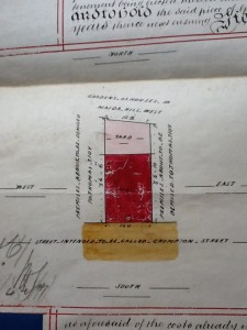 Drawing showing the plot to be developed by Thomas Tidy , 1859