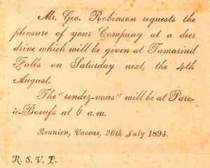 Invitation to a deer drive dated 26th July 1894