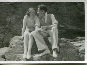 David Burnley and Nancy Dunkley on the beach at Tintagel