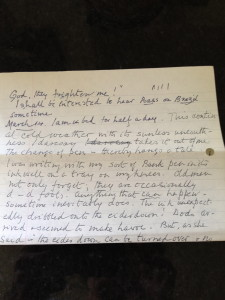 Grandpa's letter recounting his travails with pen and inkwell 14.3.1979