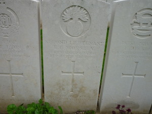 Evelyn Worsley's grave at Corbie, on the Somme.