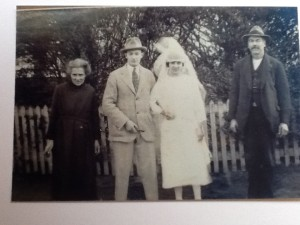 James and Edith Harper [my great-grandparents]at their daughter, Flo's wedding, in 1924.